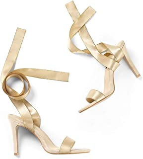 Women's Satin Lace Up Stiletto Heel Ankle Strap Sandals