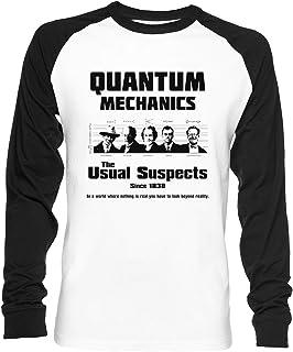 Vendax Quantum Mechanics - The Usual Suspects Unisex Maglietta da Baseball A Maniche Lunghe Uomo Donna Bianca Nera