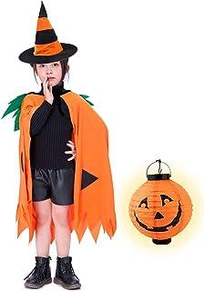 Von kilizo Toddler Boy Halloween Pumpkin Costumes Pumpkin Cloak Stripe Witch Hat and Paper Pumpkin Lantern