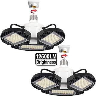 2Pack LED Garage Lights,100W Deformable LED Garage Ceiling Lights12500 LM CRI 80 Led Shop Lights for Garage, Garage Lights with 3 Adjustable Panels,Led Garage Lighting (No Motion Activated) 100W2PK