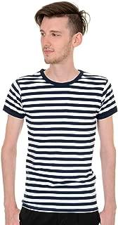 Mens Retro 60s Nautical Navy & White Striped Short Sleeve T Shirt
