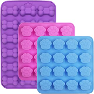 3 Pcs Silicone Molds Puppy Dog Paw/Bone Shaped, 18-Cavity, 16-Cavity, FineGood Reusable Ice Candy Trays Chocolate Cookies Baking Pans, Oven Microwave Freezer Dishwasher Safe - Pink, Blue, Purple