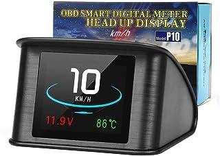 SIZOO - Head-up Display - Universal HUD P10 OBD2 Smart Digital Meter Head Up Display overspeed alarm engine fault code Car...