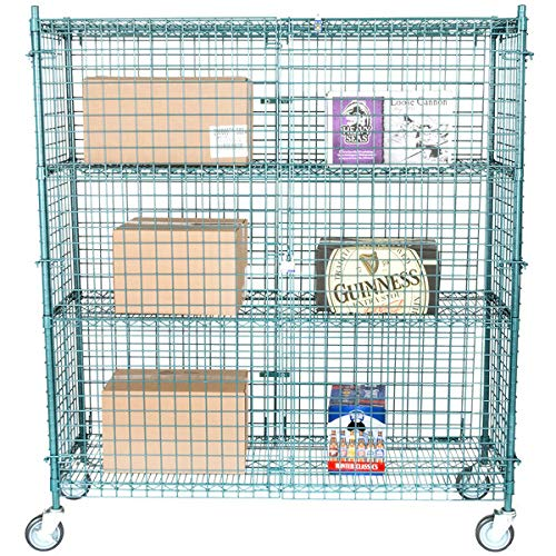 NSF Mobile Green Wire Security Cage Kit - 18 inch x 60 inch x 69 inch with Lock and Keys Plus $25 Gift Card