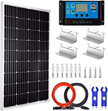Pikasola 100 Watt 12V Solar Panel Kit for RV Boat Home: 100W Monocrystalline Solar Panel Grade A + 20A LCD Solar Charge Controller + MC4 Extension Cable + Mounting Z-Brackets