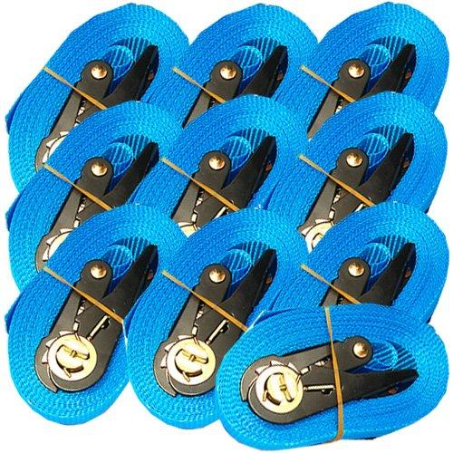 EN 12195-2, 10 spanbanden met ratel, 6 m, 0,8 t, spanband 6 m, (blauw) (10 stuks)
