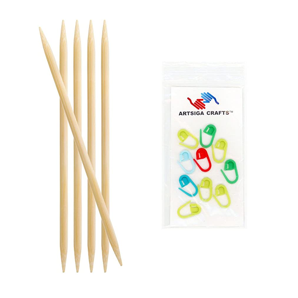 Knitter's Pride Bamboo Double Pointed 6-inch (15cm) Knitting Needles; Size US 4 (3.50mm) Bundle with 10 Artsiga Crafts Stitch Markers 900107
