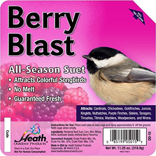 Heath Outdoor Products DD-15 Berry Blast Suet Cake, Case of 12, 0.75 lb