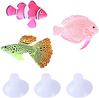 UKCOCO 3 Piezas Pescado de Silicona Brillante para Acuario, Artificiales Flotante Peces el Ornamento,