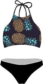 chaqlin Women Swimsuit Beach Swimwear Tie Halter Padding Bikini Bathing Suit Two Piece Tropical Plants Pattern