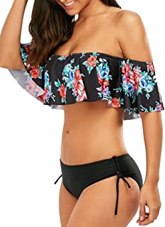 Women Two Piece Off Shoulder Floral Ruffled Flounce Crop Bikini Top with Print Tie Sides Bottoms