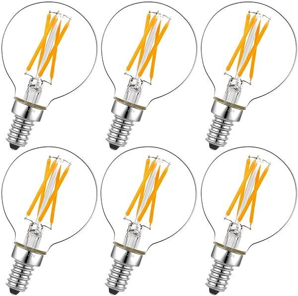 Dimmable G16 5 Led Bulb E12 G16 1 2 Led Candelabra Bulb 40w Led Edison Bulb 2700K 400lm Ac120v 4w G50 Led Globe Bulb For Chandelier Vanity And Ceiling Fan Light Bulbs 6Pack
