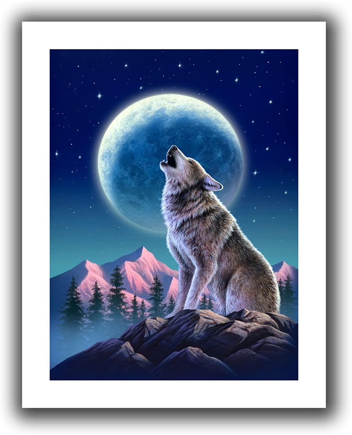 Art Wall Jerry Lofaro 'Wolf Moon' Unwrapped Flat Canvas Artwork, 28 by 36Inch