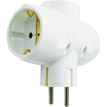Garza Power - Adaptador Triple Lateral (3 Tomas Schuko) con toma de Tierra, formato Retráctil, color Blanco