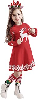 iLOOSKR Winter Toddler Baby Girls Comfy Christmas Deer Print Knit Dress Hairband Outfits