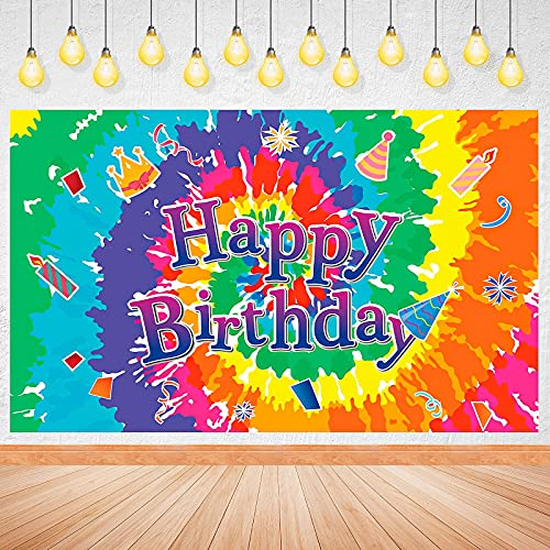 Tie Dye Birthday Party Decorations Large Tie Dye Birthday Banners Groovy Sign Colorful Happy Birthday Background for Anniversary Baby Shower Halloween Fall Thanksgiving Christmas Party Supplies