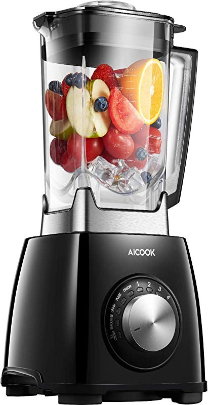 AICOOK Countertop Blender For Shakes And Smoothies 1450W High Speed Smoothie Blender Mixer For Ice Crushing Frozen Fruits 4 Auto IQ Programs 72OZ Dishwasher Safe Jar NY 8668MJA
