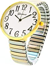 2Tone Super Large Face Easy to Read Two Tone Stretch Band Watch