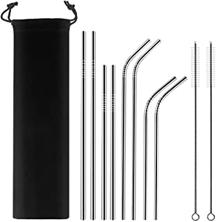 Sunhanny Stainless Steel Straws for 30oz 20oz Tumblers Cups Mugs,Reusable Metal Drinking Straws with Cleaning Brush(4 Straight + 4 Bent + 2 Brushes+Carry Bag) (set of 8)