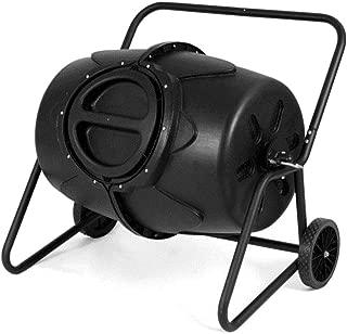 GJH One Wheeled Compost Tumbler Garden Waste Bin Grass Trash Barrel Fertilizer 50 Gallon