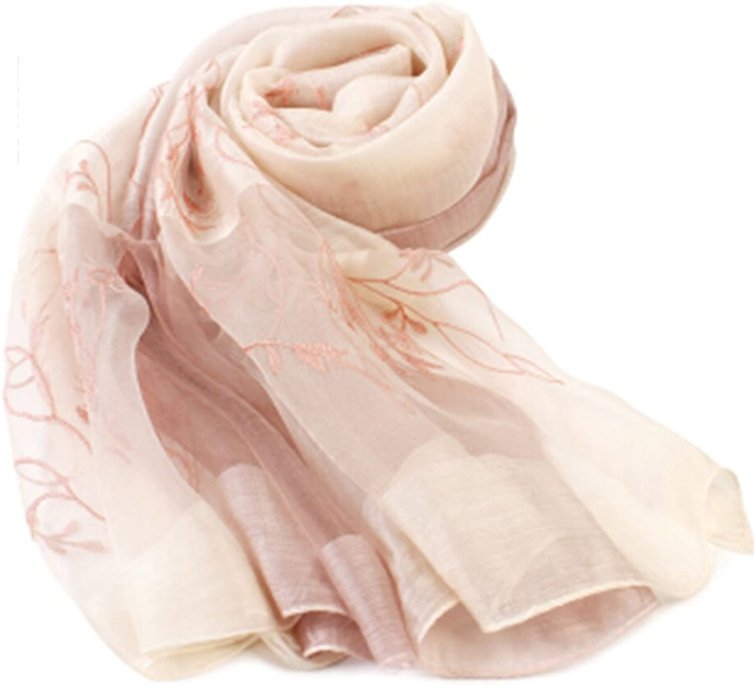 Blended silk scarf women spring and autumn thin scarf female mulberry silk embroidery shawl sunscreen scarf tree branch rice gradient