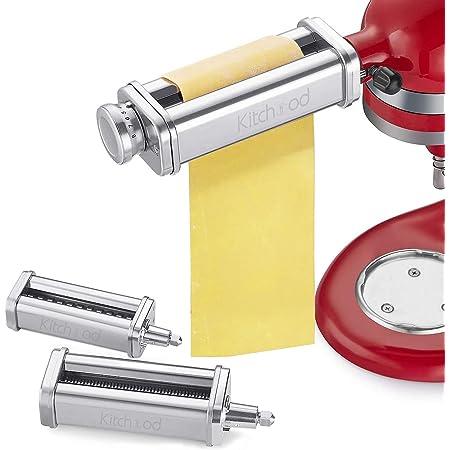 Pasta Attachment for KitchenAid Stand Mixers,Pasta Maker 3-Piece Set Attachment Including Pasta Sheet Roller, Fettuccine Cutter, Spaghetti Cutter