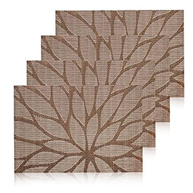 HEBE Placemats for Dining Table Washable Placemat Set of 4 Heat Resistant Woven Vinyl Kitchen Table Mats(4, Brown)