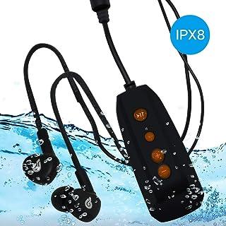IPX8 Underwater MP3 Music Player 8GB memorry Walk Man with 100% Waterproof Swimbuds Headphones Suit for Running and Swimming(Orange)