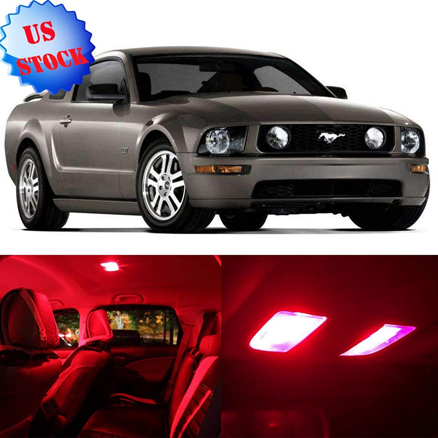 cciyu LED Bulb LED Interior Lights 9pcs Red Package Kit Accessories Replacement for 2005-2009 Ford Mustang