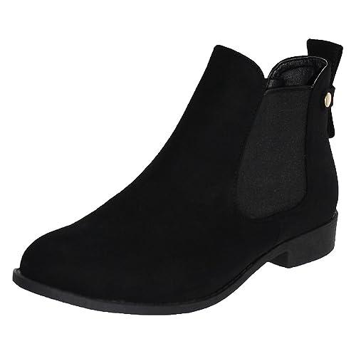 5a22e432b00b2 Flat Black Ankle Boots: Amazon.com