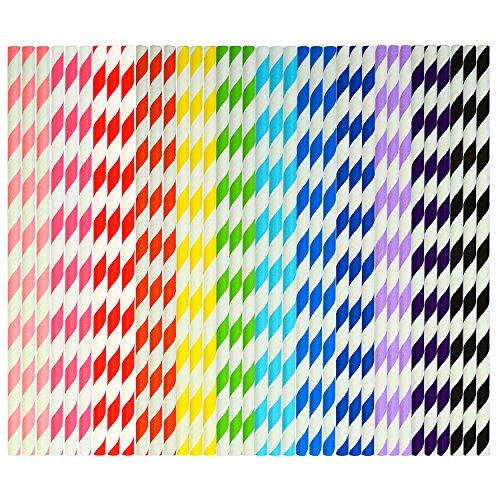 Keriber - Pajitas de papel (300 unidades, biodegradables, pajita de rayas con pajitas para beber a granel, para bodas y regalos de fiesta, 12 colores)