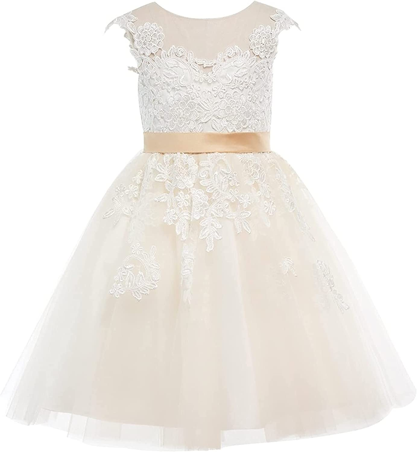 XUHUA Champagne Lace Tulle Wedding Flower Girl Dress Junior Bridesmaid Dress Communion Floral Boho Vintage Lace Dance Gown