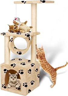 YOHOZ 36in Deluxe Cat Tree Climbing Tower Condo House | Cat Activity Tree with Sisal Scratching Posts for Kitten Activity Centre Playhouse, Pet Furniture Cat Tower | Padded Condo | Tunnel | Mouse Toy