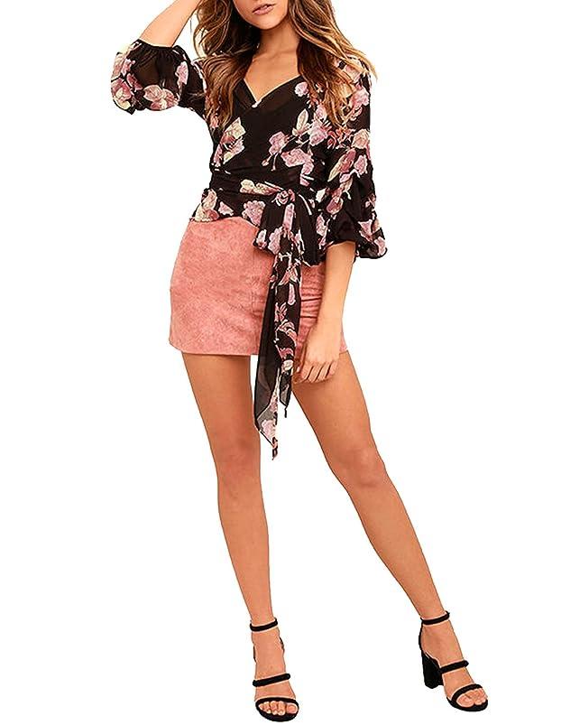Richlulu Womens V Neck Floral Half Sleeve Drop Waist Tie Wrap Tops Blouse Tee Shirts jviwuhfm601154
