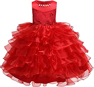 LvRao Girls Party Dress Kids Beaded Dresses for Summer Pageant Layered Tulle Skirt with Bowknot