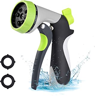 VicTsing Garden Hose Nozzle Spray Nozzle, Metal Water Nozzle with Heavy Duty 8 Adjustable Watering Patterns, Slip and Shock Resistant for Watering Plants, Cleaning, Car Wash and Showering Pets-Green