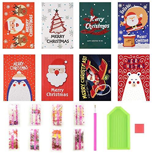 Diamond Grußkarte,Greeting Cards Christmas,DIY 5D Diamond Painting,Diamond Weihnachtskarten,Diamant Painting Karten,Weihnachten Weihnachten Karte Postkarte,Weihnachten Diamond Postkarte