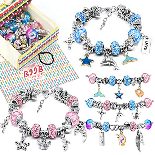 BIIB Gifts for Teenage Girls - Girls Charm Bracelet Making Kit, 2021 Easter Gift, Girls Jewellery Making Kits for Kids, Easter Girls Gifts for 8-12 Year Old Girls, Diy Arts and Crafts for Kids