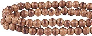 PandaHall 120pcs 6mm natürliche runde polierte lose Sandelholzkorne für die Schmucksachen, die DIY handgemachtes Handwerk bilden