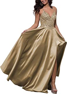 Satin V-Neck Prom Dress High Slit Lace Applique Beaded Cross-Back Long Formal Evening Gown with Pockets
