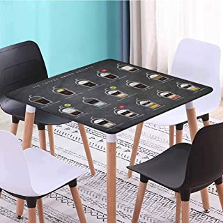 Loutan home Coffee Square Premium Table Cloth ICY Drink Recipe Ingredients Picnic Tablecloth (Elastic Edged) 23 x 23 Inch