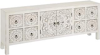 Mueble de TV Blanco de Madera con 8 cajones Oriental para salón Sol Naciente - LOLAhome