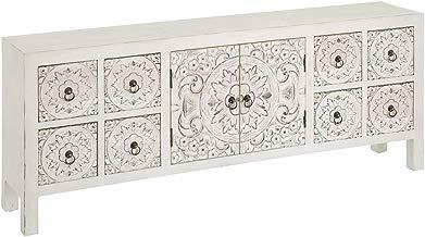 Lola Home Mueble de TV Blanco de Madera con 8 cajones Oriental para salón Sol Naciente-LOLAhome, Largo: 130 cm. Alto: 50,5 cm. Ancho: 24 cm