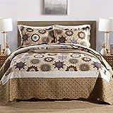 Asvert Quilt Boho Tagesdecke Baumwolle Bettüberwurf Steppdecke gesteppt Patchworkdecke Bettdecke Doppelbett Kinderzimmer(230 x 250, Braun)