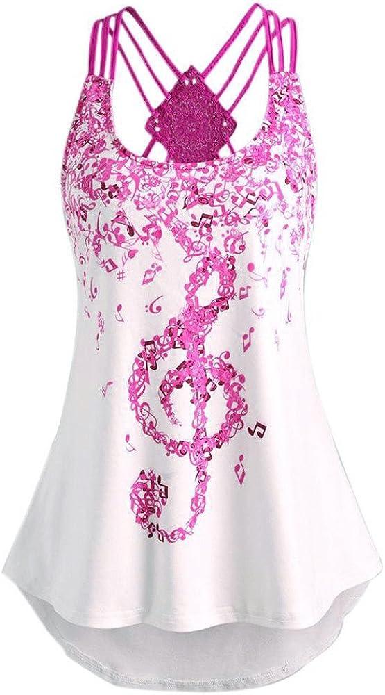 FABIURT Summer Tops for Women, Women Fashion Graphic Plus Tank Top Sleeveless Casual Tunic Loose Cross Tee Shirt Blouses