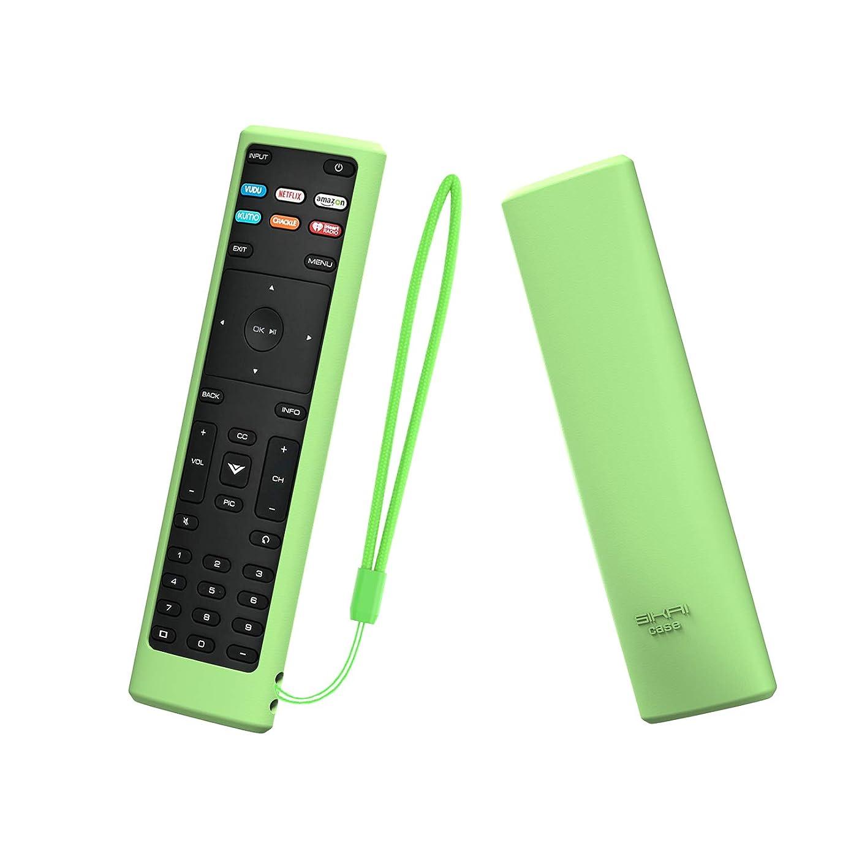 SIKAI Remote Case Compatible with Vizio XRT136 Smart TV Remote Skin-Friendly Shockproof Silicone Cover for Vizio XRT136 Remote Washable Anti-Lost with Remote Loop (Glow in Dark Green)