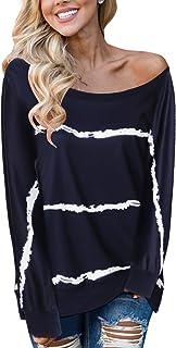YOINS Sweatshirt Damen Langarmshirt mit Streifen Rundhals Ausschnitt Casual Tshirt Oversize Hemd Jumper Bluse Tops