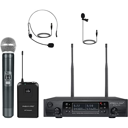 Wireless Microphone System, Phenyx Pro Dual Channel Cordless Mic Set with Handheld/Bodypack/Headset/Lapel, 2x100 Channels, Auto Scan, Lock Function, 328ft Coverage, Ideal for Events, Church (PTU-71B)