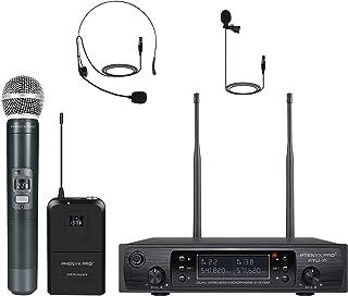 Phenyx Pro UHF Wireless Microphone System, Cordless Handheld/Bodypack/Lapel/Headset Mic Set, Multichannel,Professional Lon...