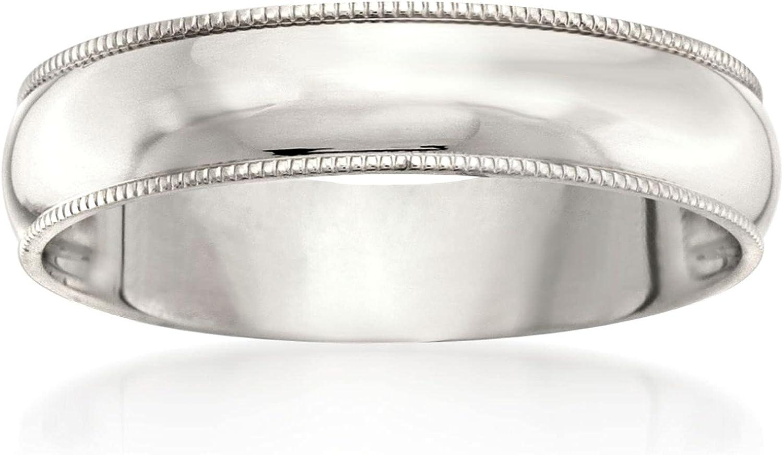 Ross-Simons Men's 5mm 14kt White Gold Milgrain Wedding Ring